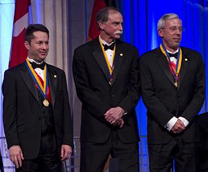 Ignacio Cirac, Dave Wineland, and Peter Zoller receiving the 2010 Franklin medal.