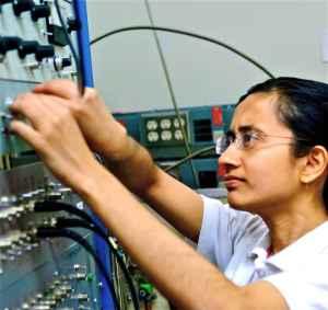 Debaleena Nandi, in the lab as usual.