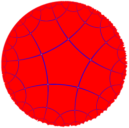 Poincare projection of a regular pentagon tiling of negatively curved space.