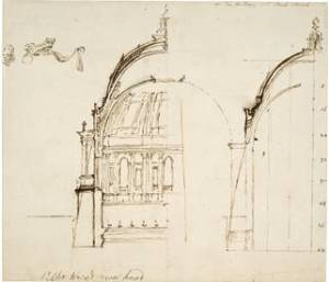 A figure from Wren's design of St. Paul's Cathedral. (Courtesy of the British Museum)