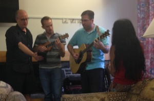 Will Matthews, Felix Leditzky, me, and Nilanjana Datta (facing away) singing