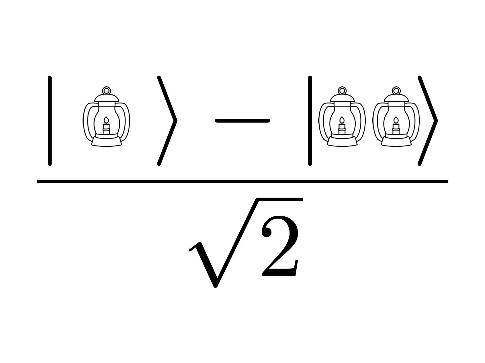 One if by land minus two if by sea, over the square-root of two